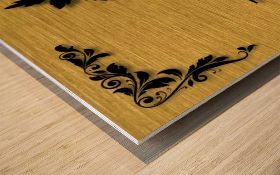 Gold illustration for interior decoration 3 Wood print