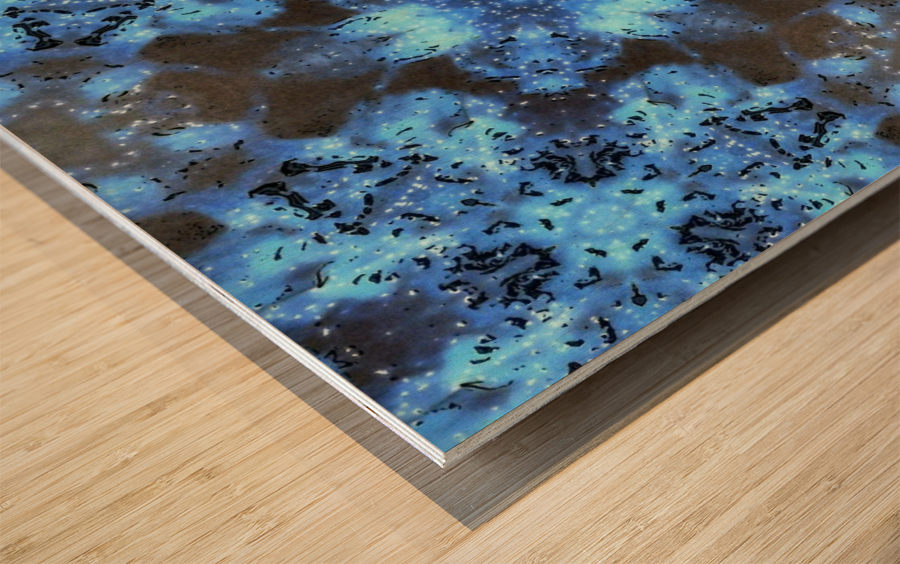Kaleidoscope Burst of Blue  Impression sur bois