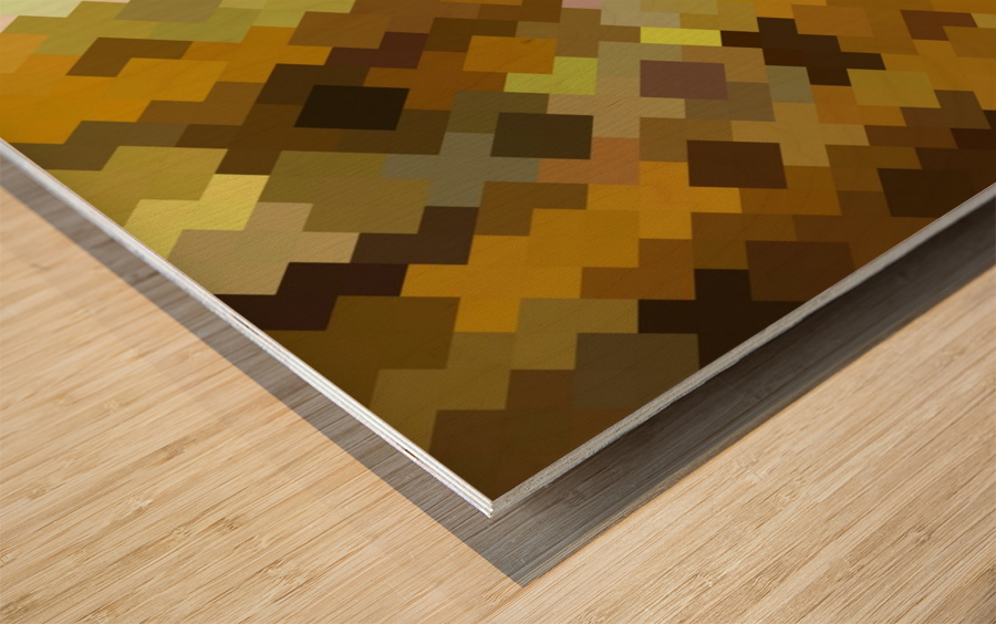 geometric square pixel pattern abstract in yellow and brown Wood print