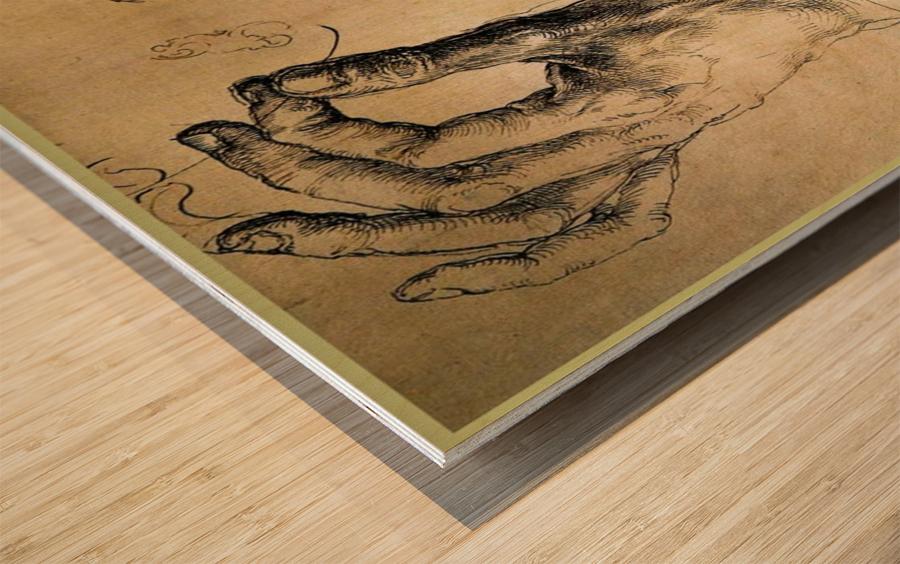 Study of Three Hands Wood print