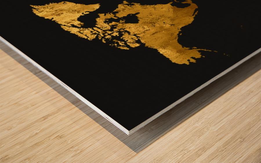 Golden World Map Wood print