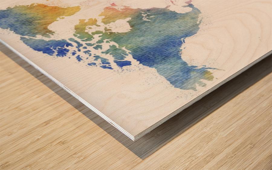 Watercolor Silhouette World Map Rainbow Sea Wood print