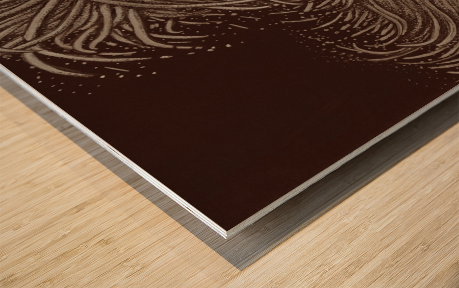 Full Bloom Sepia Wood print