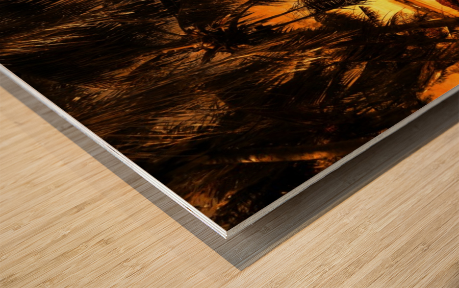 Fiery Hour Saipan Wood print