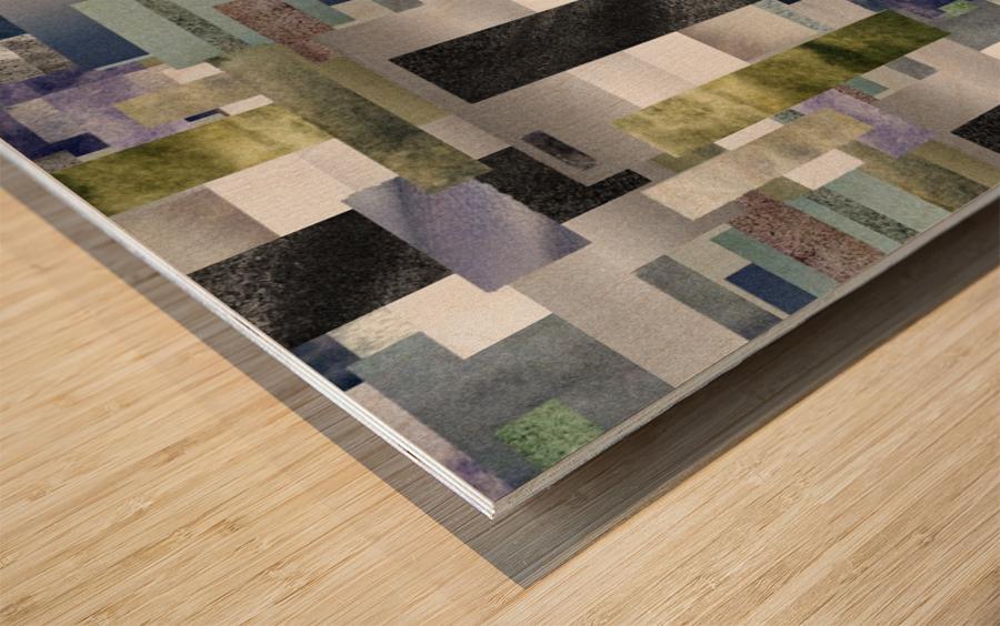 Gray Geometry Watercolor Geometrics Decorative Blocks XIV Wood print