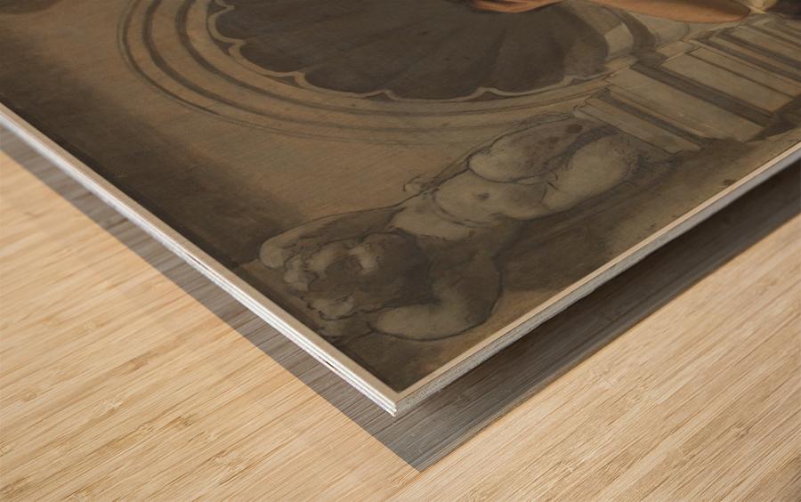 Esquisse pour la coupole du pavillon Denon au Louvre La pensee ou l architecture Wood print