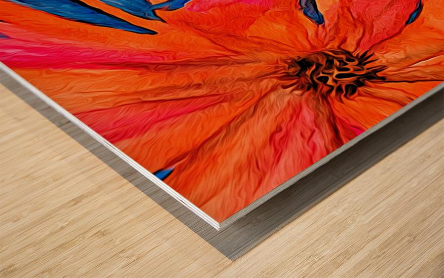 Orange Flowers  Wood print