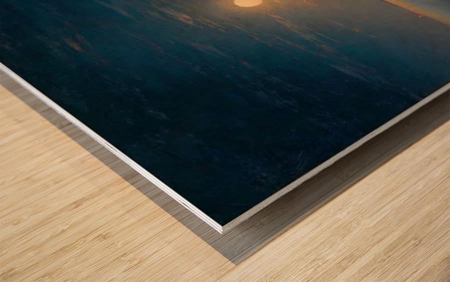 Night at the sea Wood print