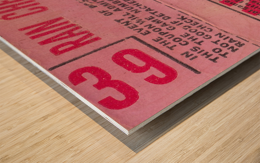 1970_Major League Baseball_Boston Red Sox Ticket Stub Art_Fenway Park Artwork_Red Sox vs. Orioles Wood print