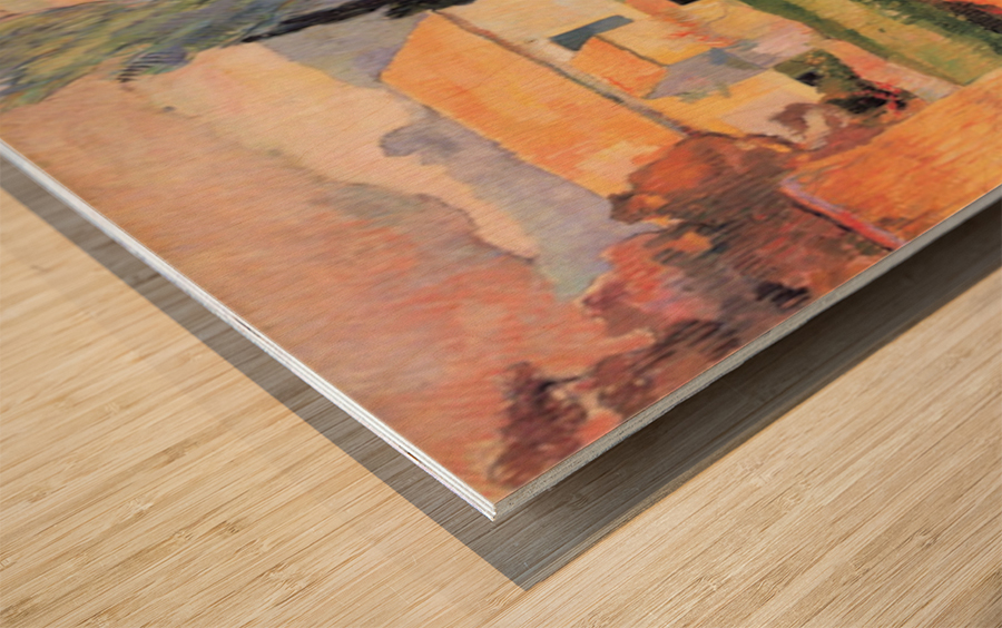 Farmhouses in Arles by Gauguin Wood print