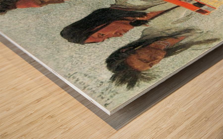 Four Indians by Bierstadt Wood print