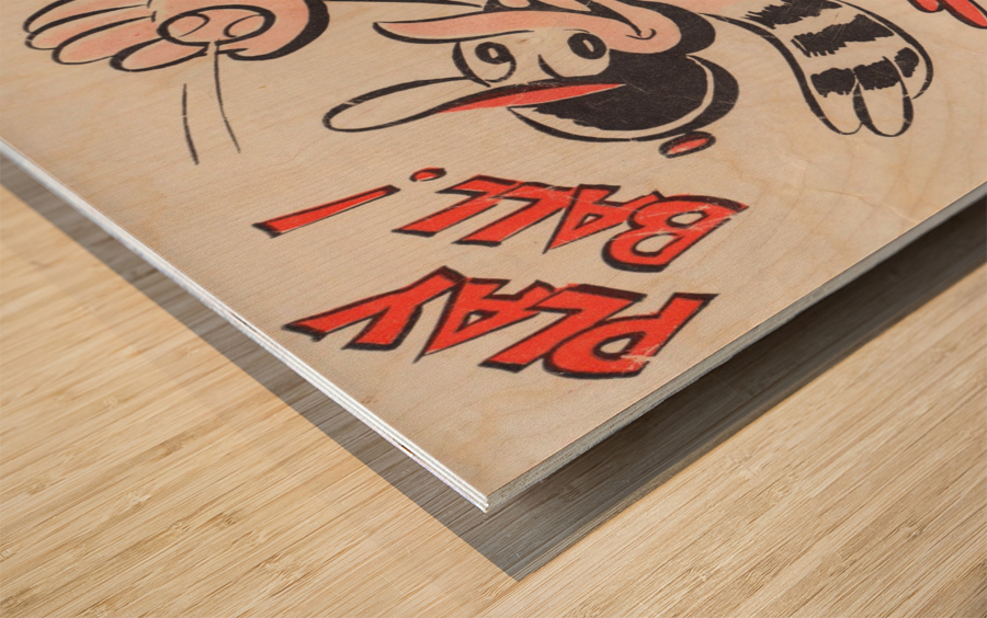 vintage baltimore orioles play ball art cartoon baseball poster metal canvas acrylic art Wood print