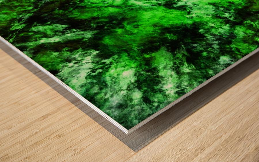 Green burst Wood print