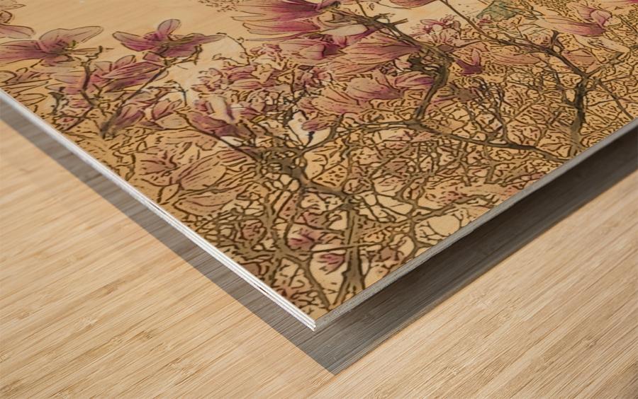 PInk Magnolia Tree Wood print