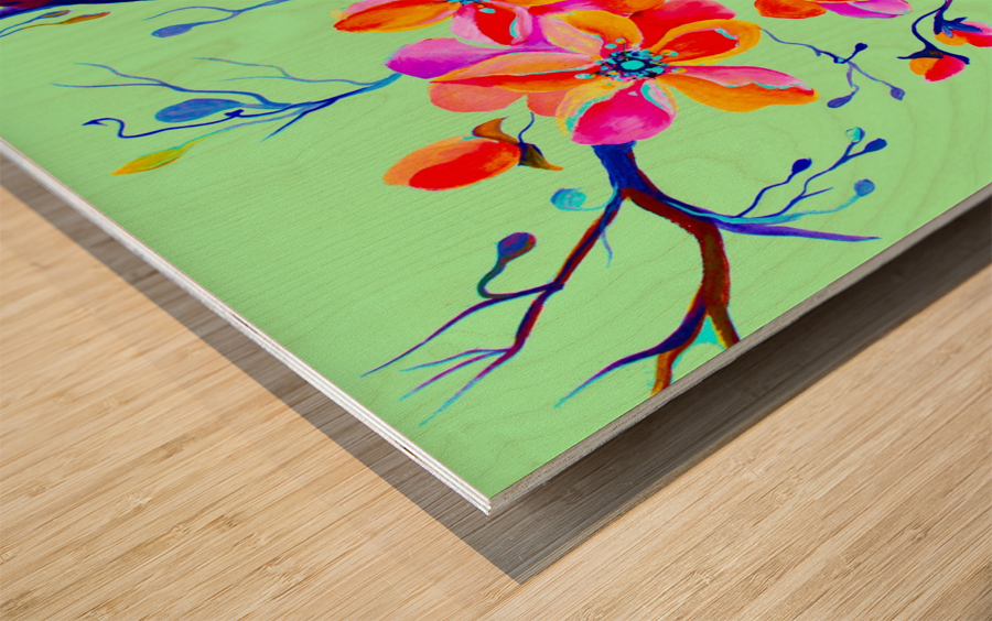 Watercolor Sakura Japanesse Cherry Flowers Wood print