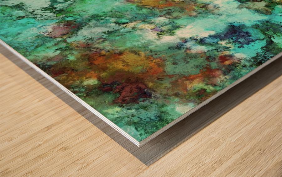 Turquoise terrain Wood print