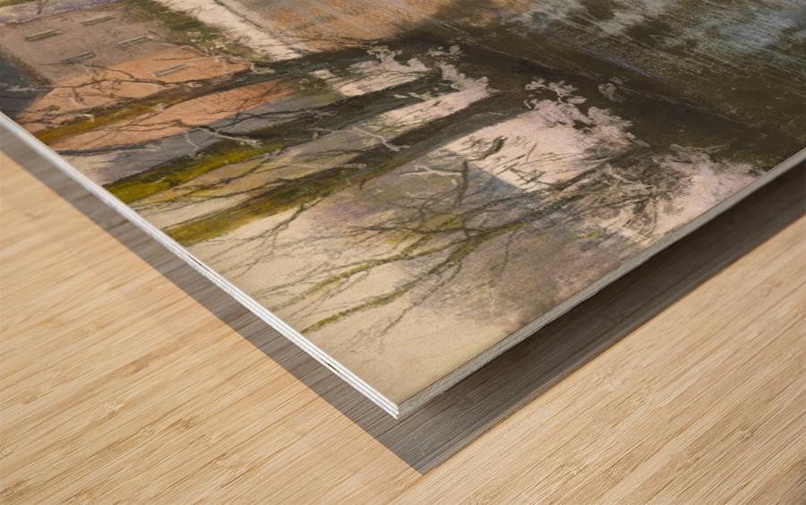 Snowy landscape Impression sur bois