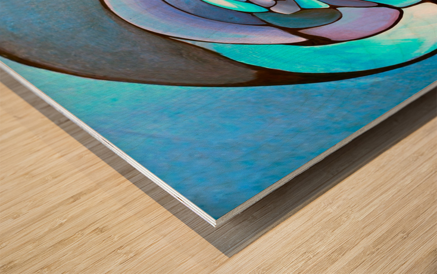 Art Deco_Green _Pattern_Aqua Wood print