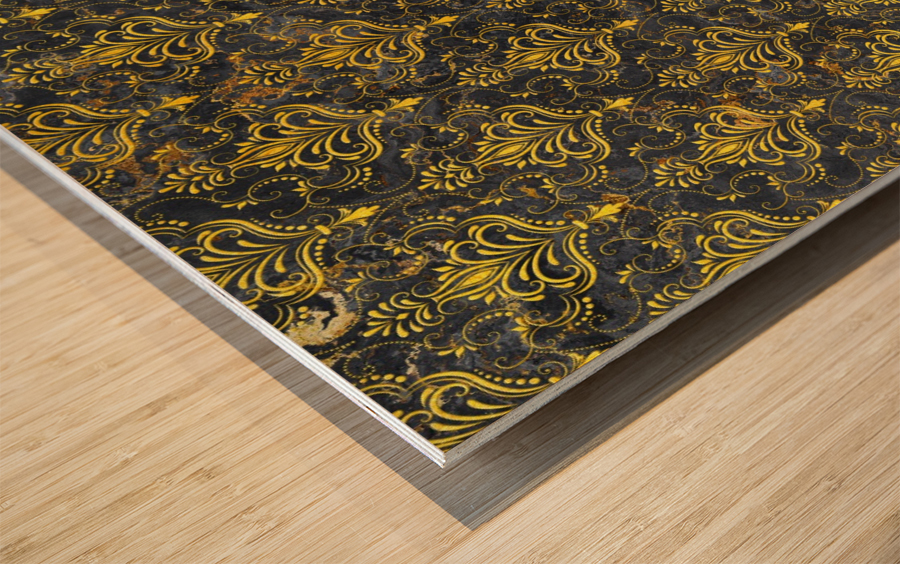 Golden pattern with marble Wood print