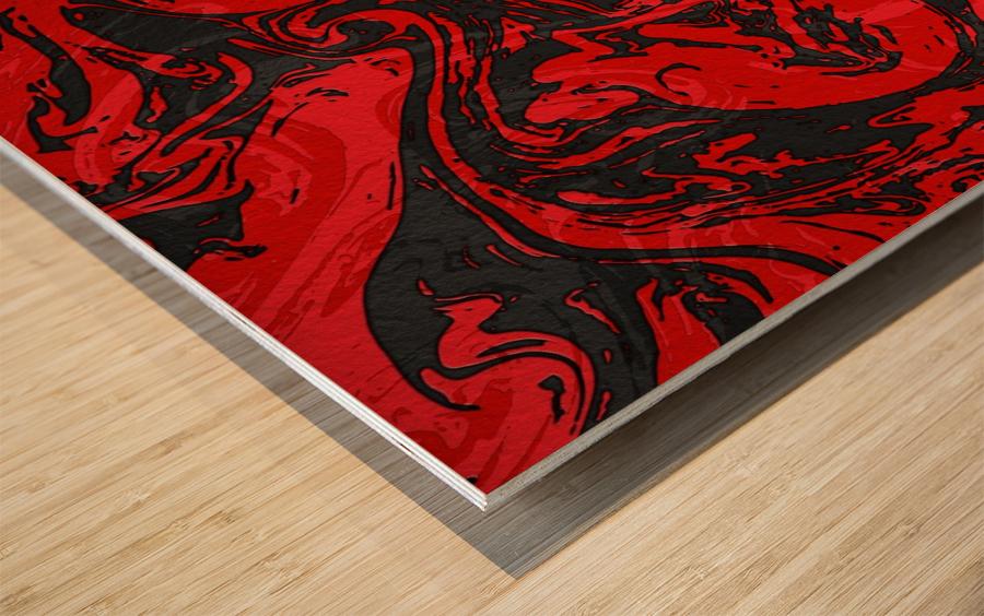 Black & Red Marble II Wood print