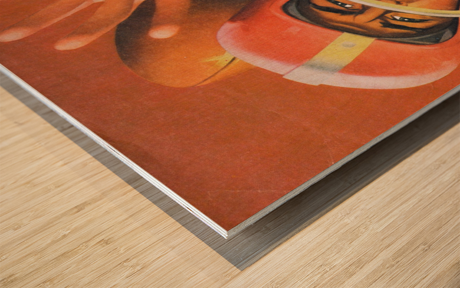 artist lon keller quarterback football program cover art Wood print