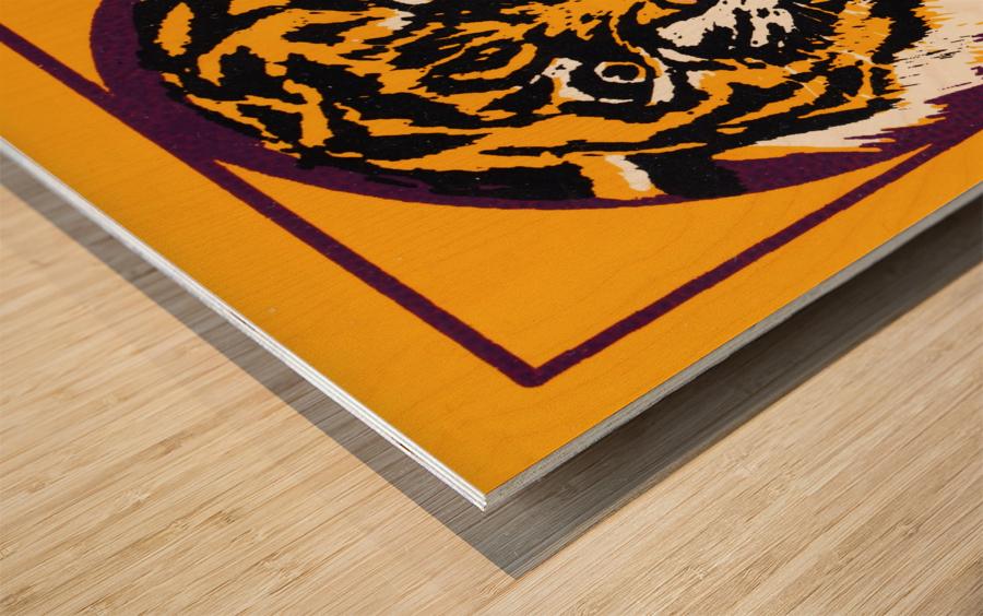lsu tigers retro poster Wood print