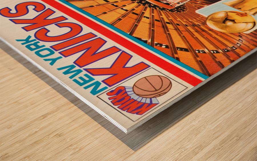 1984 new york knicks nba basketball playoffs bernard king program poster Wood print