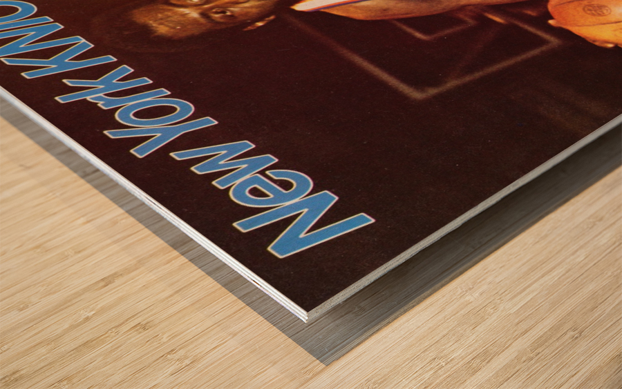 1977 new york knicks basketball poster Wood print