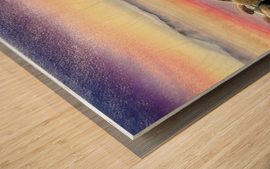 Purple Sunset At The Lake Wood print