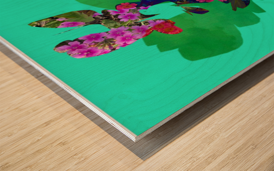 Floral Collage Wood print