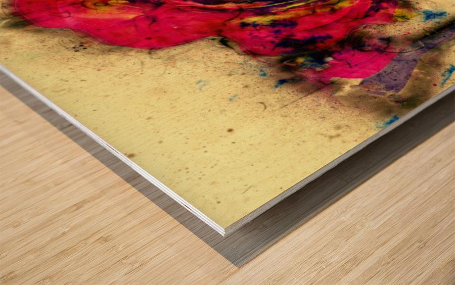 abstract rose Wood print