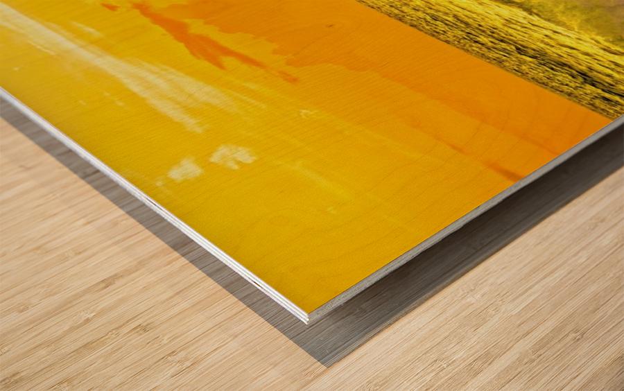 At the Sea Shore Panorama - Sunset Hawaiian Islands Wood print