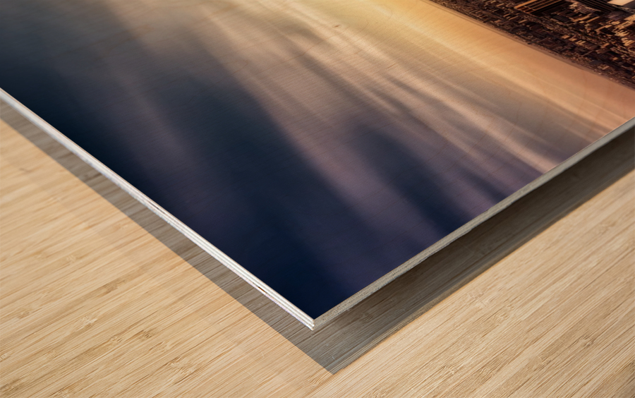 Long Sunset by Javier de la Wood print
