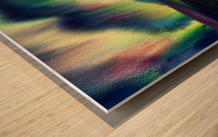 Aurora Borealis Magic Reflections Northern Lake Lights Watercolor Wood print