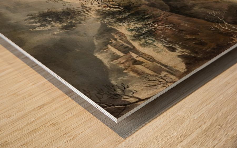 A frozen river landscape with figures Wood print