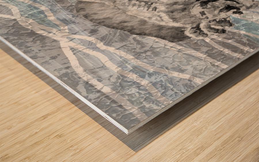 Silver Gray Seashell On Ocean Shore Waves And Rocks I Wood print