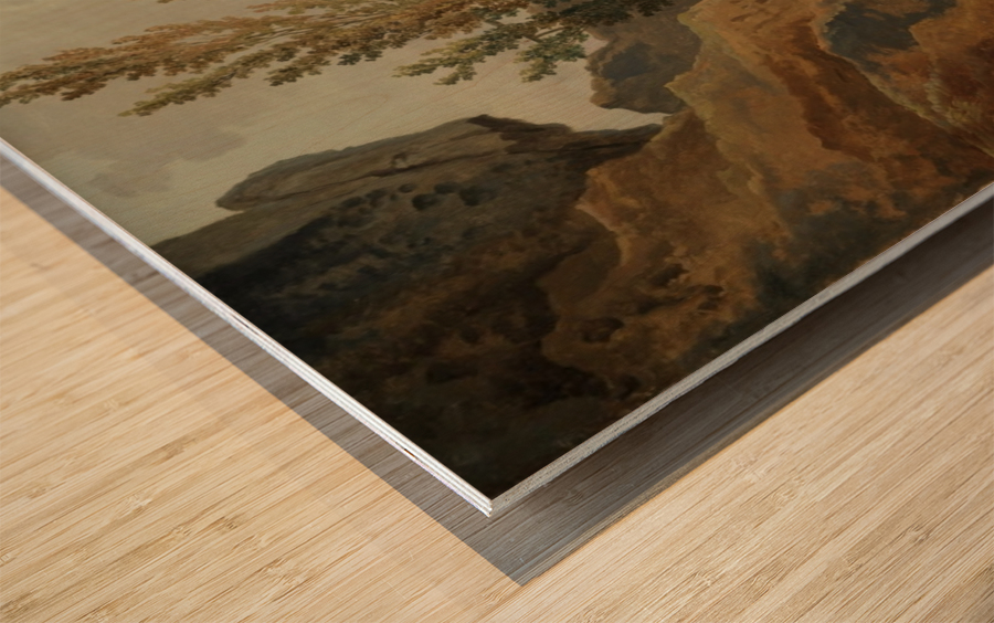 Bridge over a Cascade Wood print