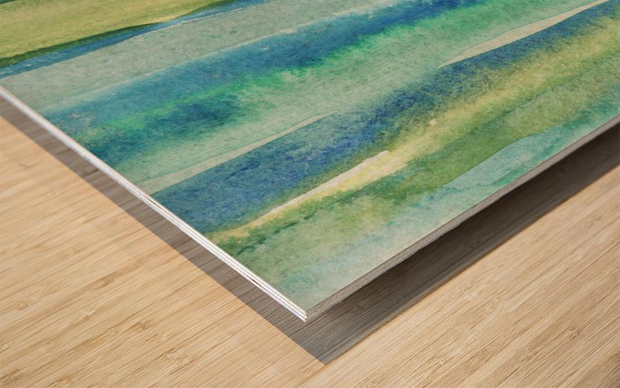 Ocean And Sea Beach Coastal Art Organic Watercolor Abstract Lines I Wood print