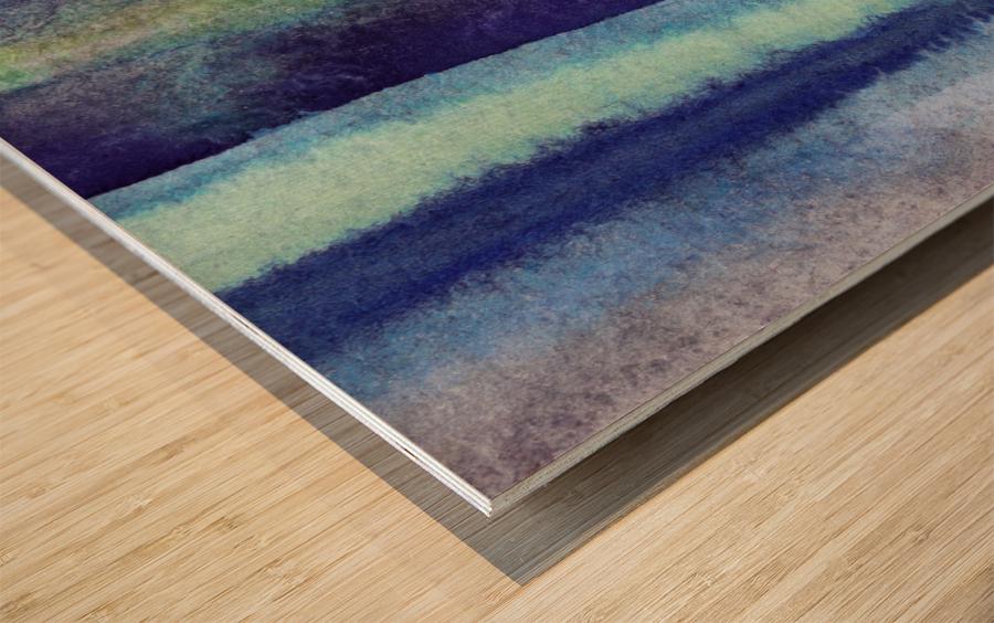 Ocean And Sea Beach Coastal Art Organic Watercolor Abstract Lines V Wood print