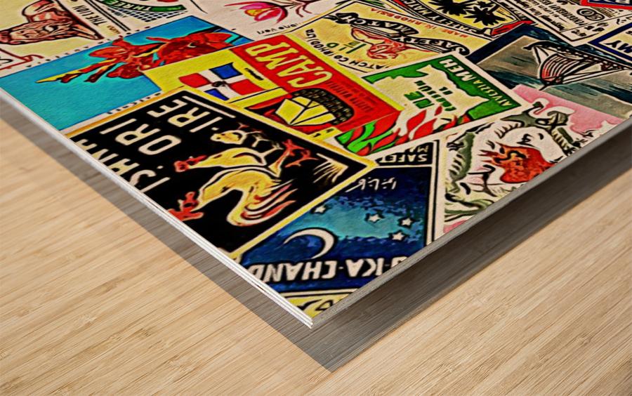 Matchbox Label Collage Wood print