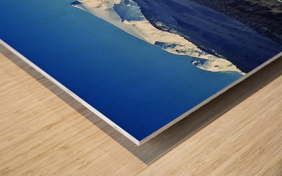 Comox Glacier and Herring Boat Wood print