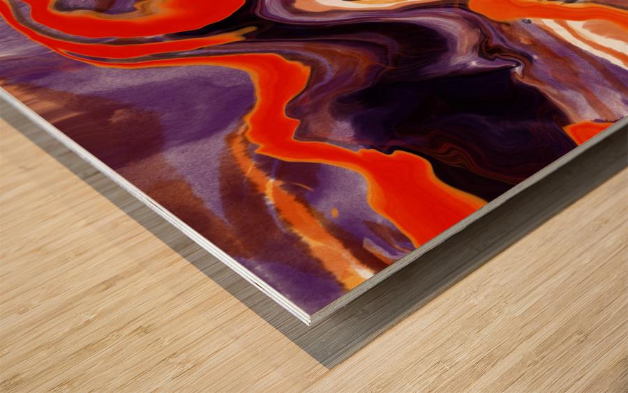 Flaming Paint Pour Wood print