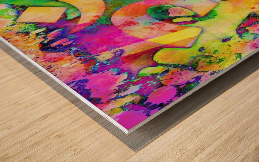 Om Rays Wood print
