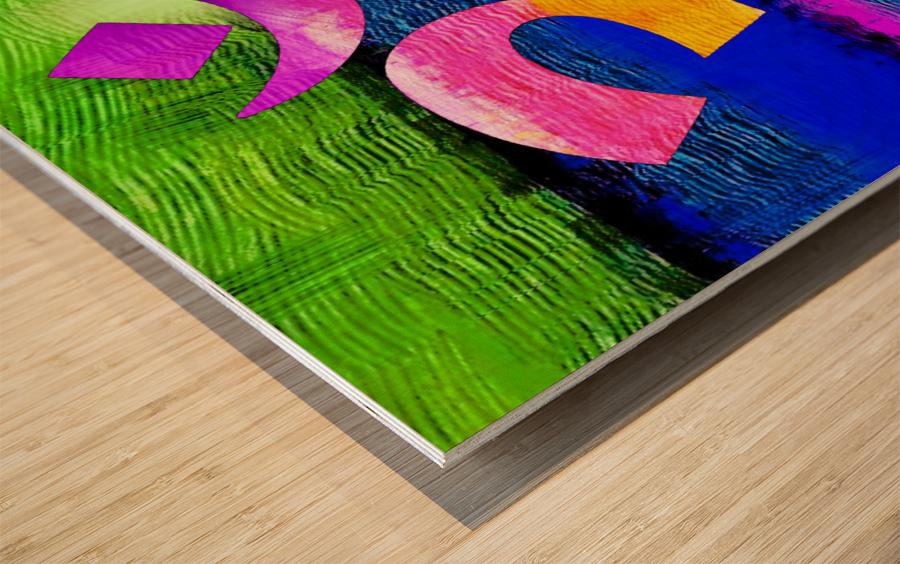 Om Waves Wood print