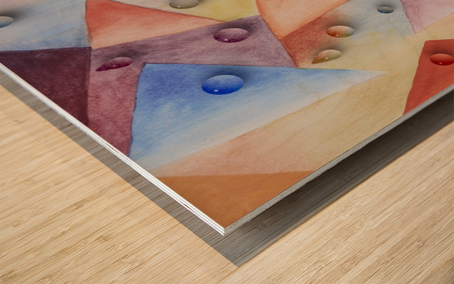 Rainbow Water Drops Wood print