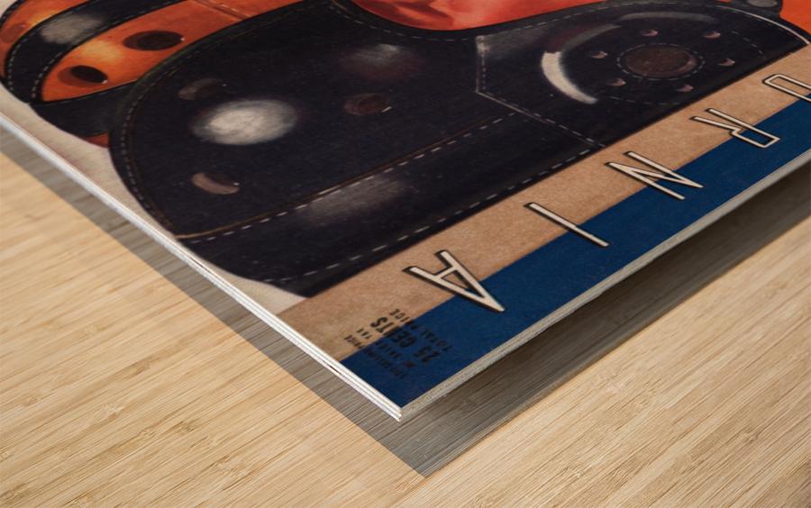 1938 Cal vs. Stanford Big Game Program Cover Art Wood print