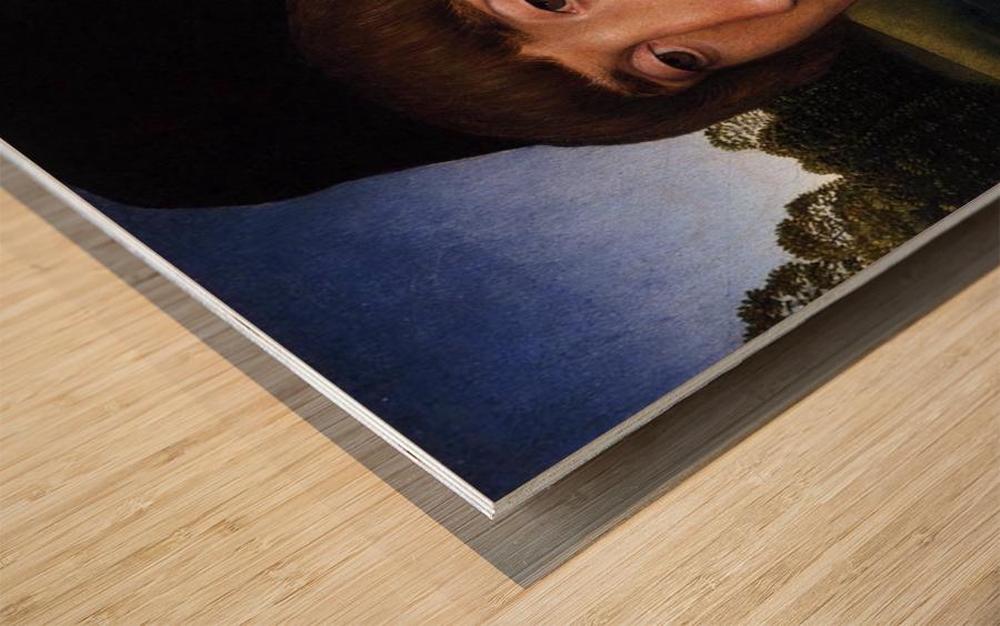 Portrait of a Young Man before a Landscape Wood print
