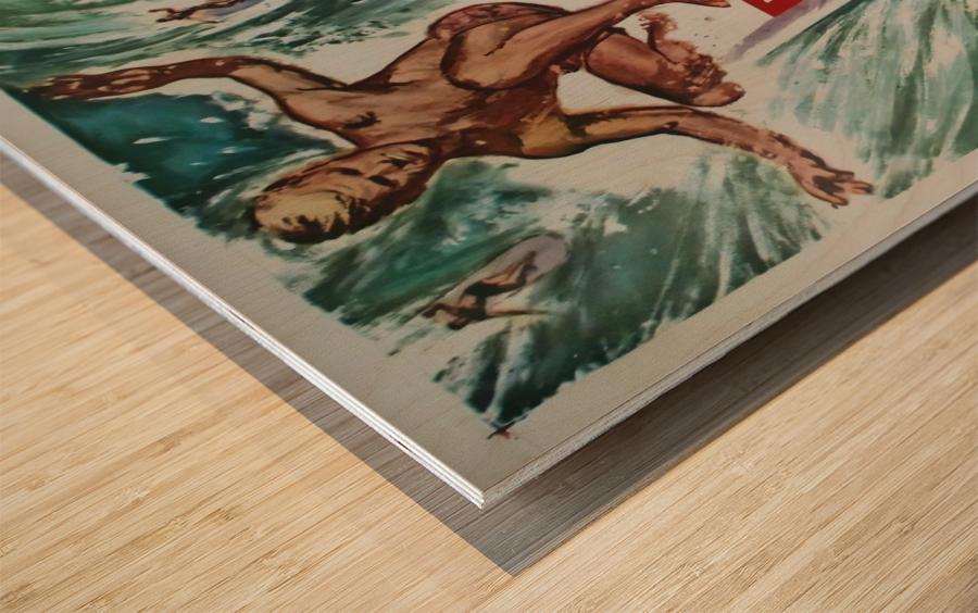 Original Vintage Surfing Movie Poster - Ride The Wild Surf Wood print