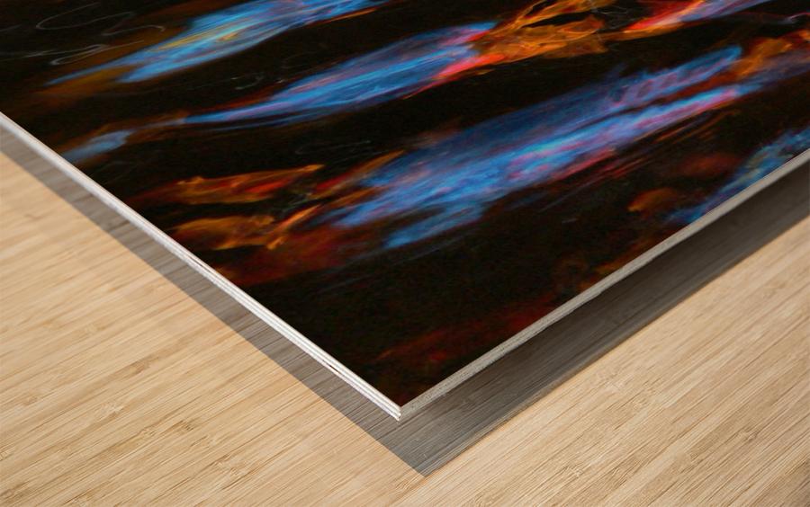 Blue Procession Wood print