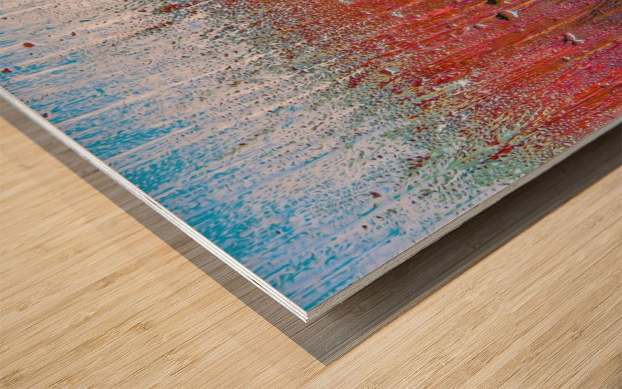 Glass Colorful Abstract Background Color Drip Wood print